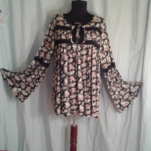 Altar'd State Large baby doll top lace bell sleeve